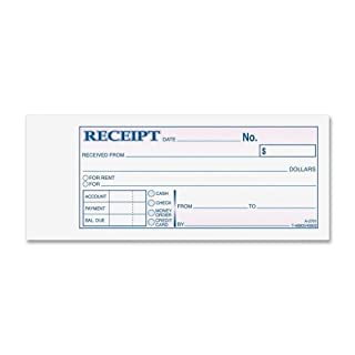 Receipt Book 2 3/4 x 7 3/16 Three-Part Carbonless 50 Forms by Adams Business Forms