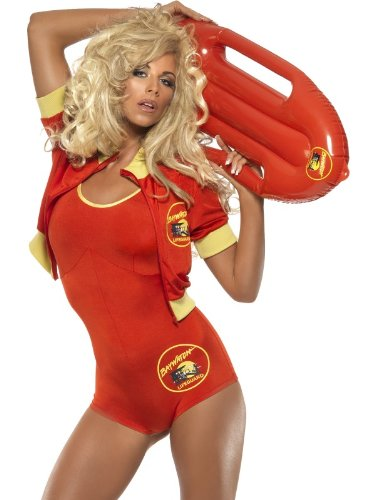 Ladies Baywatch 1990s Lifeguard Playsuit Hot Pants Sexy Hen Do Fancy Dress Costume Outfit (UK 12-14)