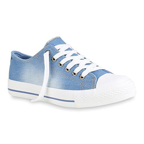 3893548a3d351a Damen Sneaker Low Stoffschuhe Basic Schnürer Schuhe Turnschuhe 156238 Denim  Blau 39 Flandell