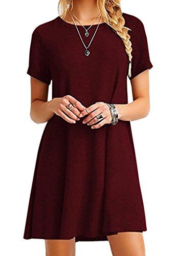 Casual MiniKleid Langes Shirt Lose Tunika Kurzarm T-Shirt Kleid Weinrot XL ()