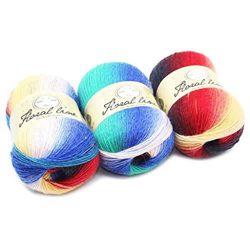 Eine Stricken Mütze (Hoxin Baby Stricken Wolle Garn Thread, Rainbow Farbverlauf Stil Kammgarn Garn für DIY Schal Pullover (1 Stück) (19))