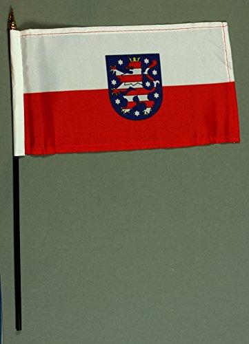 Handflagge Tischflagge Thüringen 15x25 cm mit 37 cm Mast aus PVC-Rohr, ohne Ständerfuß