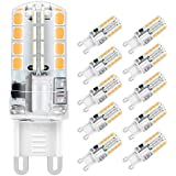 Ampoule LED G9, Jpodream 5W 32 x 2835 SMD LED Lampes Blanc Chaud 3000K, 400LM, Économie d'énergie Equivalente 40W Halogène Lumière, 360 Degrés Angle, AC220-240V - Pack de 10