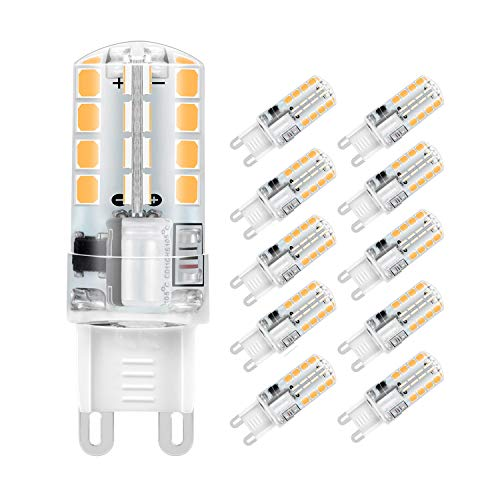 Lampadina LED G9, 5W 32x2835 SMD Risparmio Energetico Lampada, Bianco Caldo 3000K, Equivalente a 40W Lampada Alogena, 400lm, Angolo di visione 360°, AC220-240V, Confezione da 10 by Jpodream