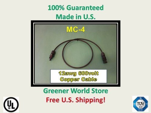 Solar Connector Cable 6 feet 12awg with Mc4 at each end., Made with High Quality TUV, and UL Rated Components., Engineered for Long Life and Outdoor Applications., Shipped Fast from U.S. Seller! Visit our store for all size cables and mc4 mc3 connect...