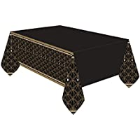 Fancy Dress VIP 1.37m x 2.6m Plastic Black & Gold Hollywood 20s Gatsby Birthday Party Tablecloth Cover Decoration