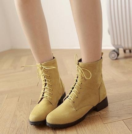 &ZHOU Bottes d'automne et d'hiver courtes bottes femmes adultes Martin bottes Chevalier bottes A38 Yellow