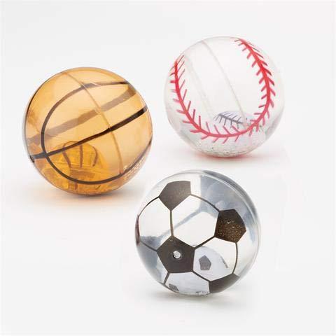 Twos Company 3 Sport-Ball-Flummis mit LED blinkendem Licht - Fußball Baseball und Basketball - perfekt für sportliche Kinder-Geburtstage