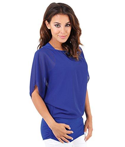 KRISP® Femmes Blouse Ample Boho Mousseline Manches Chauve Souris Froncée Pois Bleu Roi (3559)