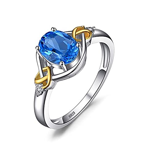 JewelryPalace Love Knot 1.5ct Natural Swiss Blue Topaz Diamond Accented Promise Ring 925 Sterling Silver 18K Yellow Gold Size