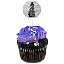 Dandy Otter Bowtie Top Hat Cake Cupcake Toppers Picks Set