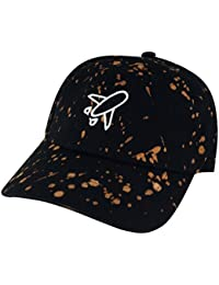Airplane Outline Unstructured Baseball Adjustable Hat Dad Cap - Paintball  Black White e5e2d4f84f6d