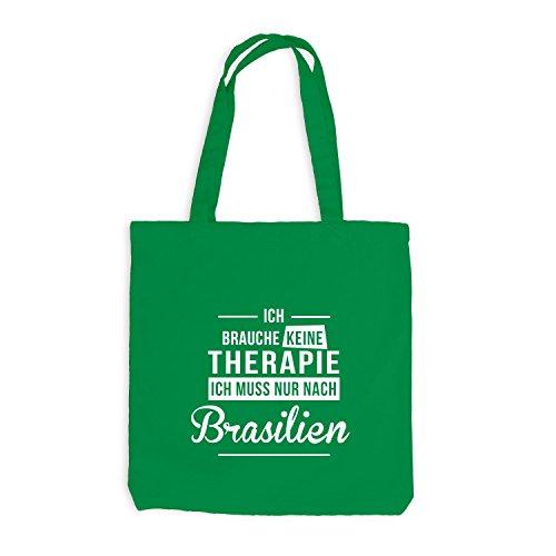 Jutebeutel - Ich Brauche Keine Therapie Brasilien - Therapy Urlaub Brazil Kellygrün