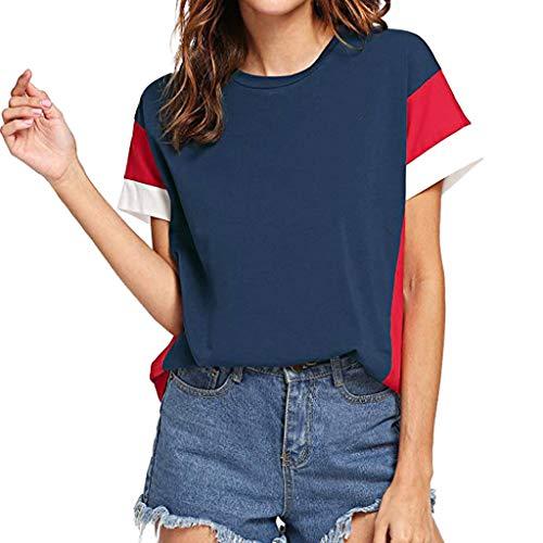 UFACE Damen Farbblock Chiffon Kurzarm Casual Bluse Shirts Tunika Tops (Rot, M)