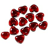 Sachet de 11 Galets en verre en forme de coeurs pour décoration - ROUGE -