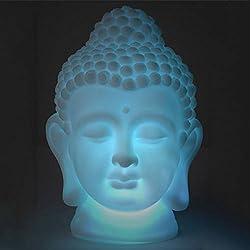 Lámpara <en, Buda luminoso, lámpara que cambia de color, lámpara de ambiente LED con forma de cabeza de Buda, Buda lámpara