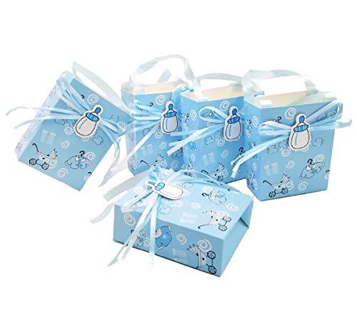 JZK 24 x Blau Gastgeschenk Süßigkeiten Schachtel mit Babyflasche Muster für Baby Mädchen Geburtstag Taufe Neugeborenen Babyparty Baby Shower Kinder Party