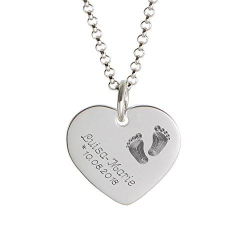 Gravado Kette mit Anhänger – 925 Silber – Herz Anhänger mit Gravur – Kinder Füßchen – Personalisiert mit [Namen] und [Datum] – Halskette als...