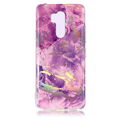 BONROY LG G7 Hülle, Glänzend Wechseln Farbe Grau Marmor Soft TPU Silikon Schutz Handy Hülle Handytasche HandyHülle Case Cover Schutzhülle für LG G7 - (YH Marmor - Laser Lila)