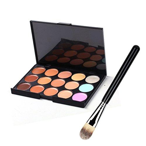 Pure Vie® 1 Pcs Pinceaux Maquillage Trousse + 15 Couleurs Palette de Maquillage Correcteur Camouflage Crème Cosmétique Set - Convient Parfaitement pour une Utilisation Professionnelle ou à la Maison