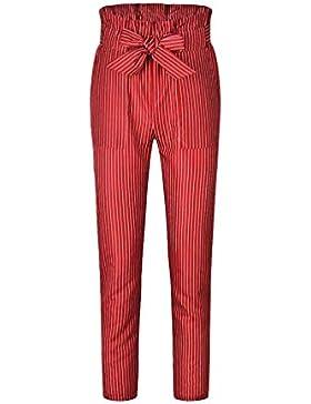 Byqny Pantalones con Cinturón Ancho para Mujer Pantalones De Verano Casuales Pantalones Cintura Alta Slim