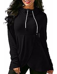 Overdose Women Sweatshirt Asymmetric Hem Hooded Long Sleeve Tops