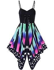 Sannysis faldas verano, Impresión de la mariposa asimétrica correas vestidos, sin mangas