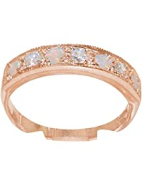 9ct Rose Gold Synthetic Cubic Zirconia & Opal Womens Eternity Ring - Sizes J to Z Available
