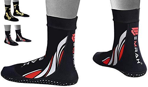EMRAH Neopren-Knöchel-MMA-Grifftraining Kampf Socken Boxen Fußstützen ˈKnöche lSchuhe Guard Pad MMA Socks (Schwarz, Mittel) -