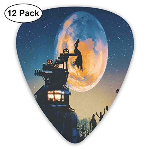 Celluloid Guitar Picks - 12 Pack,Abstract Art Colorful Designs,Dead Queen In Castle Zombies In Cemetery Love Affair Bridal Halloween Theme,For Bass Electric & Acoustic Guitars.