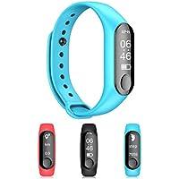HRRH Relojes Bluetooth Smart, Deportivo Elegante Reloj con Pulso presión Arterial Despertador Paso, Fitness Tracker para Android y iOS,Blue