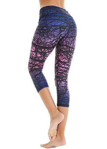 COOLOMG Damen Sport Leggings Yoga Hosen-Fitnesshose, B-lila (Capri), Gr.-S