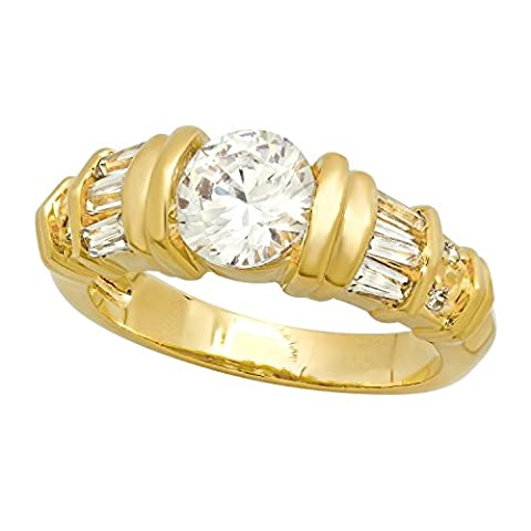 Gold Plated Round CZ Solitaire Ring w/Baguette/Round CZ Accents, Size 10
