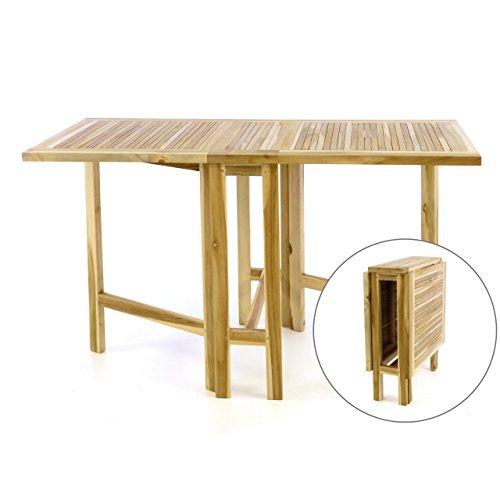 Teak Esstisch Stühle (DIVERO Klapptisch Balkontisch Gartentisch Esstisch Teak Holz Natur unbehandelt Tisch für Terrasse Balkon Wintergarten witterungsbeständig massiv klappbar 130x65 cm)