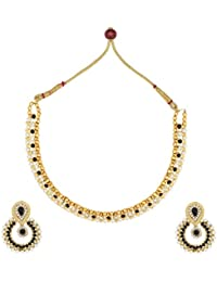 Dancing Girl Kundans Bridal Black Metal Alloy Jewellery Set With Necklace And Earring For Women