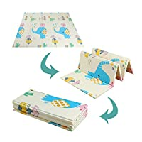 Blanketswarm Kids Crawling Mat,Folding Double Sides Waterproof Baby Care Play Mat XPE Foam Slip Floor Gym for Outdoor Or Indoor Use-79x71x0.4inch