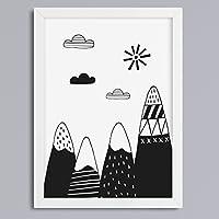 """""""Berge & Wolken SW"""" Kunstdruck o"""