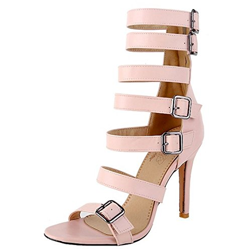 TAOFFEN Damen Mode-Event Strappy Ausgeschnitten Schuhe Gladiator Rei?verschluss High Heel Sandalen Pink