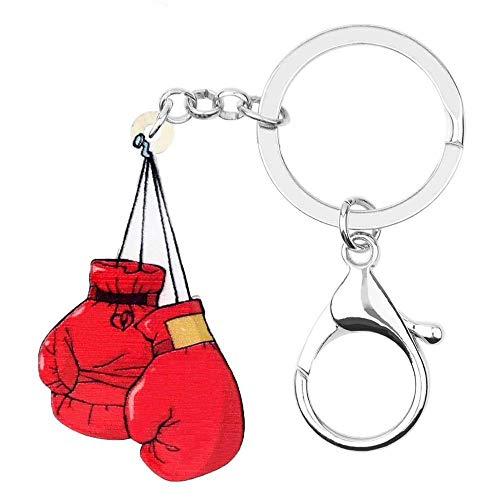 DdA8yonH Schlüsselbund Acryl einzigartigen roten Boxhandschuhe Schlüsselanhänger Schlüsselanhänger Ringe Fashion Cool Schmuck für Frauen Mädchen Charms