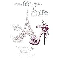 Happy 65th Birthday Sister Paris Fashion Eiffel Tower Shoe Design Happy Birthday Card