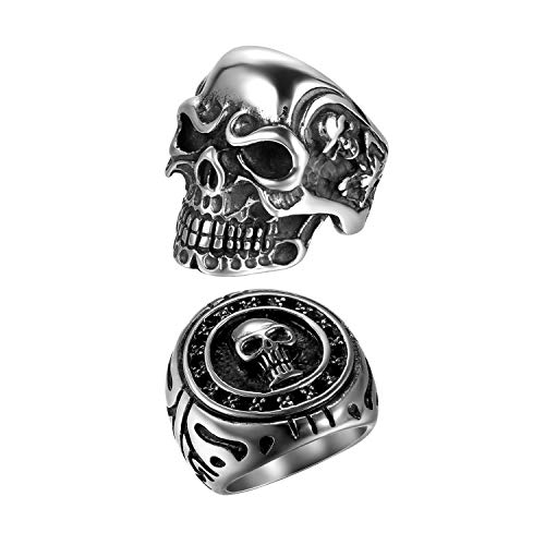 OIDEA 2 Stück Edelstahl Ring für Männer Jungen Skull Biker Ringe, Silber schwarz Retro Charm Punk Rock Schädel Herrenring Edelstahlring Bandring Ringgrößen 71 (22.6)