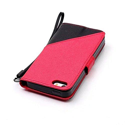 Etsue Handytasche für iPhone SE/iPhone 5S Brieftasche Hülle,iPhone SE/iPhone 5S Frosted Lederhülle Lanyard Handyhülle Einzigartig Flip Hülle Mischfarben Book Buch-Stil Leder Schutzhülle Vintage Flip W schwarz + Rot