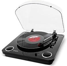 ION Audio Max LP - Giradischi a Tre Velocità con Altoparlanti Stereo, Conversione USB dei Dischi in Digitale, Uscite RCA Standard e Uscita Cuffie, Finitura in Nero