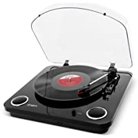 ION Audio Max LP Three Speed Vinyl Conversion Turntable with Stereo Speakers, USB Output to Convert Vinyl Records to Digital Files and Standard RCA and Headphone Outputs Piano, Black Finish