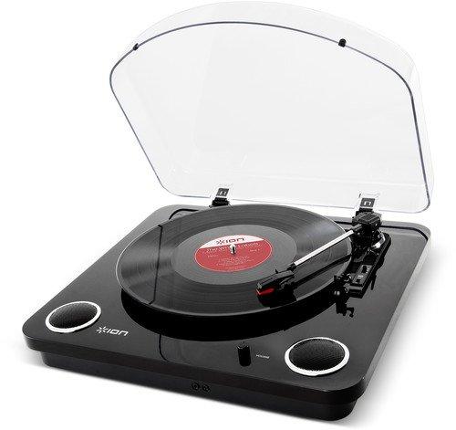 ION Audio Max Lp Giradischi a Tre Velocità con Altoparlanti Stereo, Conversione USB dei Dischi in Digitale, Uscite Rca Standard e Uscita Cuffie Finitura in Nero