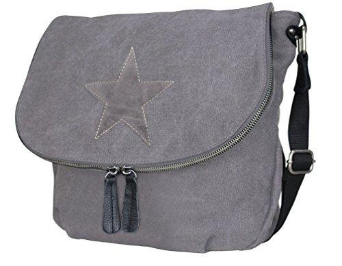 Damen Stern Handtasche Schultasche Clutch TOP TREND Tragetasche Modell 6 Dunkelgrau