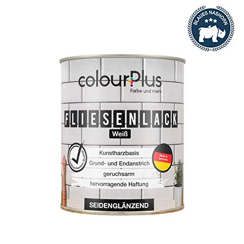 colorPlus® Fliesenlack (750ml, Weiß) glänzender 1K Fliesenlack Weiß - Farbe für Fliesen - Fliesen streichen - Fliesenfarbe Bad - Made in Germany