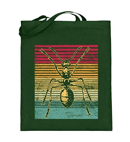 (Ameise Retro - Geschenk für Ameisenzüchter - Kolonie Insekt Tier Königin Soldat Arbeiter - Jutebeutel (mit langen Henkeln))