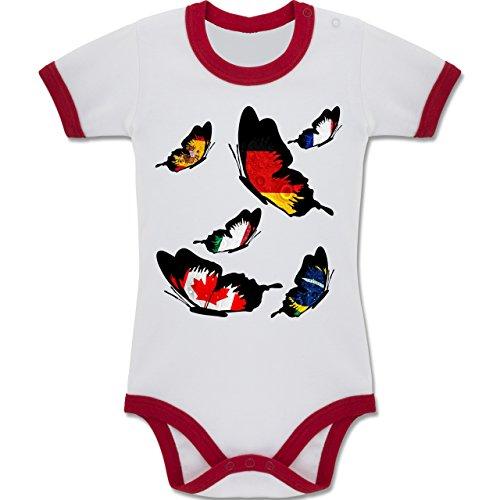 Shirtracer Fußball-Weltmeisterschaft 2018 - Baby - WM Länder Schmetterlinge - 12-18 Monate - Weiß/Rot - BZ19 - Zweifarbiger Baby Strampler für Jungen und Mädchen (Butterfly Bio-baby-body)