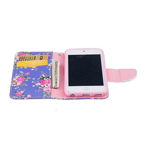 Lederhülle für iPod Touch 6G/5G, Zcro Schutzhülle Magnet Ultra Dünn Flip Wallet Handyhülle Ledertasche Case mit Kartenfach Frei Schwarz Eingabestift für iPod Touch 6G/5G Generation (Blumen Blühen)